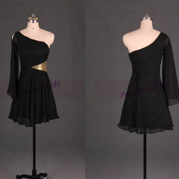 Short black chiffon homecoming dress in 2014,unique one sleeve gowns for party,cheap simple prom dresses hot.