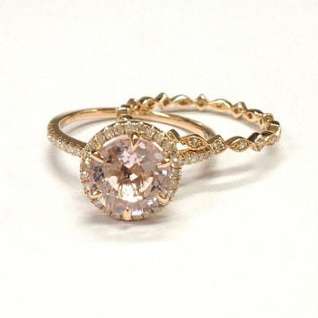 Morganite Wedding Ring Set!Diamond Engagement Ring 14K Rose Gold,Art Deco,8mm Round Cut Pink Morganite,SIX Prongs,Stackable Matching Band