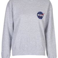 Nasa Distressed Sweater by Tee & Cake - Grey