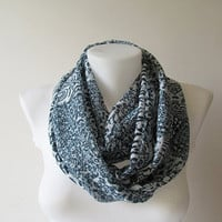 Navy Blue White Floral Infinity Scarf, Chiffon Scarf, Circle Scarf, Women Loop Scarf, Fall Winter Spring Summer Fashion, Gift for Her