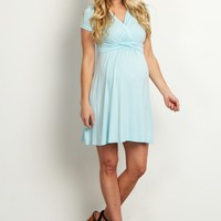 Light-Blue-Draped-Front-Maternity-Dress