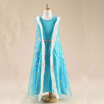 2017 New spring Girl Ice Snow Queen Dress Children Anna Elsa Hooded Dress Toddler Princess Party Clothes Kids Cosplay Costume
