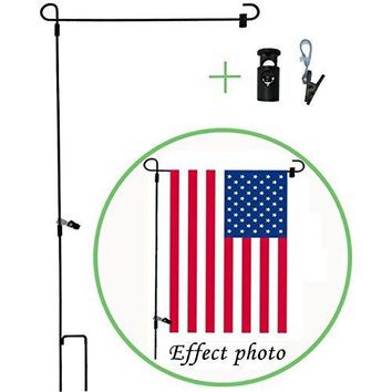 """BOUTIQUE_GOODS Garden Flag Stand-Holder-Pole with Garden Flag Rubber Stopper and Anti-Wind Clip (5 PCS) Powder-Coated Water-Proof Paint 36.3"""" H x 16.5"""" W Keep Your American Flag Never Twisted Again"""