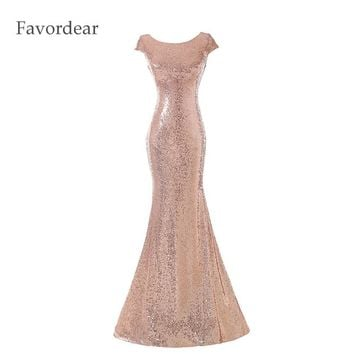 2017 Long Bridesmaid Dress Backless Gold Sequin Sheath Sparkly Wedding Bridesmaid Dress Champagne Gold Rose Gold Sequin Hot Sale
