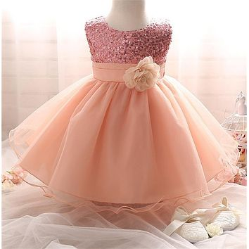 Spring Summer Baby Kids Girls Dresses Cute Sequins Bling Tutu Outfits 0-2Y Children's Clothes Birthday Party Wedding Ball Gowns
