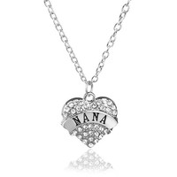 Nana Heart Pendant Necklace with Rope Chain