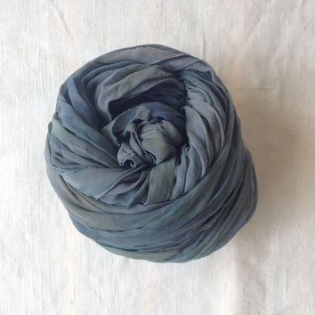 Hand dyed silk scarf - Summer party - head scarf - Bluish grey - turban