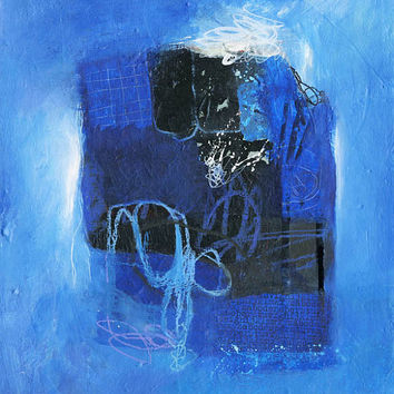 Modern Art Abstract Acrylic Painting on Canvas -- Original Blue, Black and White Textured Design 13 x 16