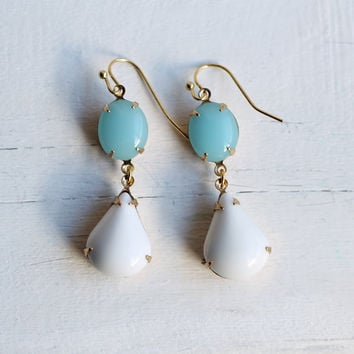 Turquoise Seafoam Earrings ... Chandelier Drops Opal Earrings in Robin Egg Blue