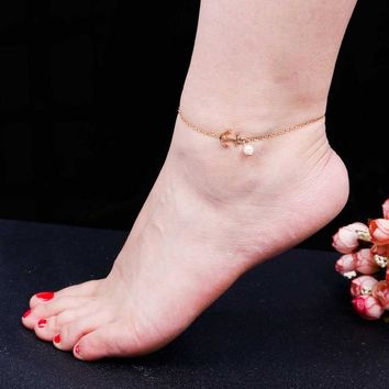 Sexy Imitation Pearl Gold Anchor Chain Ankle Charm anklet for Women Foot Jewelry Vintage Anklet