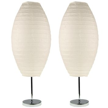 Chrome Table Lamp Set with Paper Shades (Set of 2)