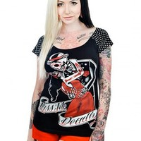 "WOMEN'S ""KISS ME DEADLY"" PYT TEE BY TOO FAST (BLACK)"