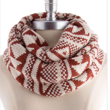 Knit Scarf Infinity Scarf Tribal Print Knitted Scarf Autumn Women Accessories Gift Guide - By PiYOYO