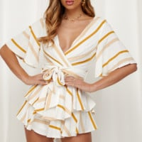 Fashion New Stripe Shorts Sleeve Romper Shorts Yellow