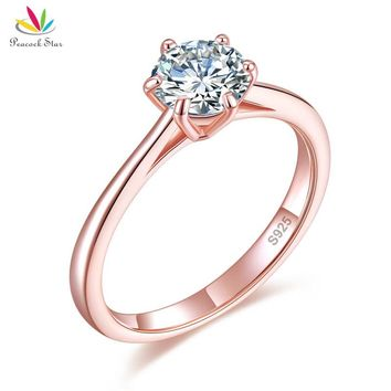 Peacock Star 6 Claws Wedding Classic Engagement Ring Solitaire Solid 925 Sterling Silver 1 Carat Rose Gold Color CFR8315