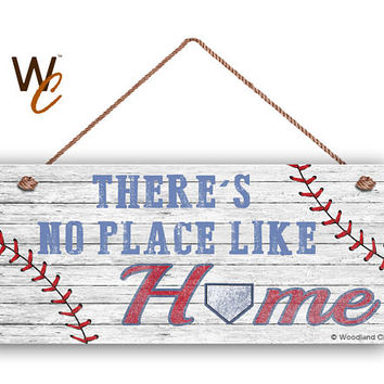 """There's No Place Like Home Sign For Dad, Baseball Sign, Gift For Dad, Rustic Style, 6"""" x 14"""" Sign, Sports Sign, Baseball Team, Made To Oder"""