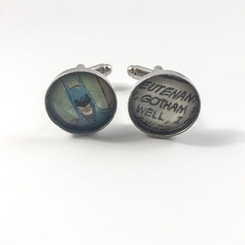 Batman Gotham City Cufflinks (Ready to Ship) - Gotham Cufflinks Groom's Corner - Wedding Cufflinks - Everyday Cufflinks
