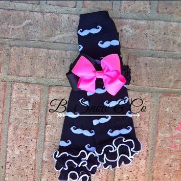 Mustache baby girl leg warmers, Leg Warmers and headband set, Birthday outfit, baby leg warmers, baby girl leggings, Cake smash