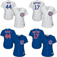 Lady #17 Kris Bryant Jersey 2016 Chicago Cubs World Series Patch #44 Anthony Rizzo Cool Base Cubs Baseball Jerseys White Blue