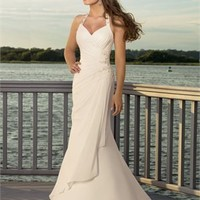 Elegant halter v-neck chiffon vintage mermaid Beach Wedding Dresses WDB039