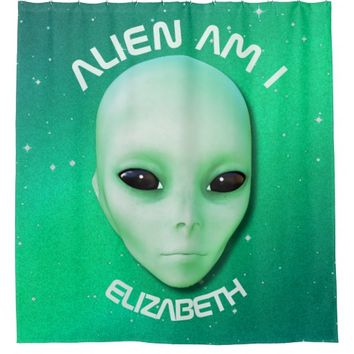 Alien Am I Green Funny Alien Face With Black Eyes Shower Curtain