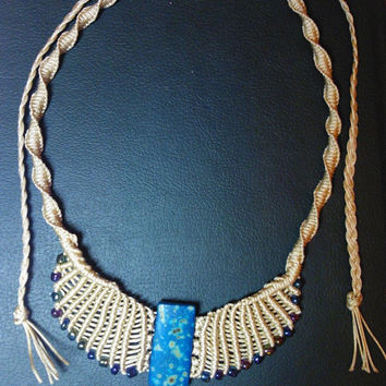 Micro Macrame necklace, beige and blue