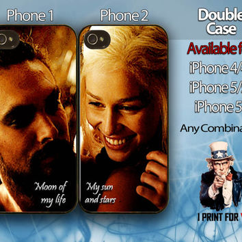 Game of thrones Double case,couple case iPhone case,Available for iPhone 4/4s,iPhone 5/5s and iPhone 5c,make any combination you want