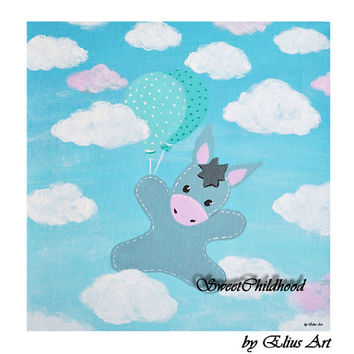 Baby decor, Children's gift, Picture for Kids with donkey, Clouds and balloons, Kids room decor