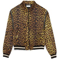 Indie Designs Saint Laurent Inspired Animal Leopard-print Satin Harrington Jacket