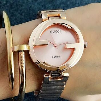 GUCCI Trending Woman Men Simple Watch Business Watches Couple WristWatch Rose Gold I-Fushida-8899