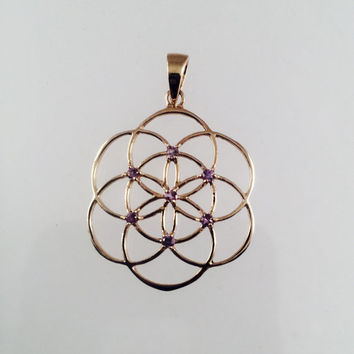 Sacred Geometry, 10k Gold Seed of Life Pendant with Purple Sapphires