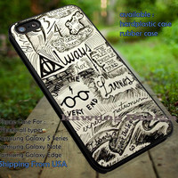 Collage Line Art   Harry Potter   Deathly Hallows iPhone 6s 6 6s+ 6plus Cases Samsung Galaxy s5 s6 Edge+ NOTE 5 4 3 #movie #HarryPotter ii