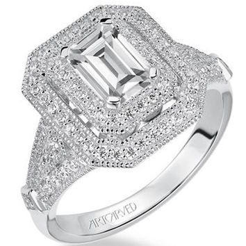 "Artcarved ""Selma"" Double Halo Emerald Cut Diamond Engagement Ring"