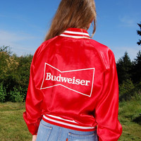 80's BUDWEISER Jacket | Vintage Starter Jacket  | Shiny Red Satin Jacket |  Ringer Tee |  Red Track Jacket | Racing Jacket | Budweiser Shirt