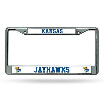 Kansas KU Jayhawks Chrome Metal License Plate Frame