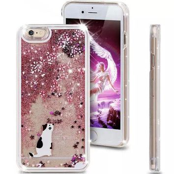DCCKWQA Liquid Glitter Phone Case for Iphone 5 5S (White Kitty)