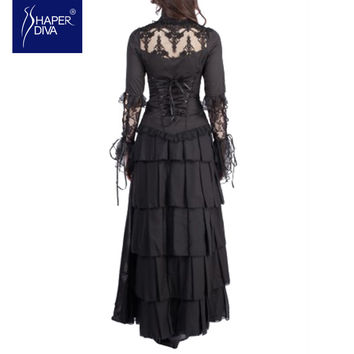 Burvogue Women Chiffon Corset Dress Steampunk Corset Maxi  Style Gothic Corset Dress Summer Ankle Length  Tiered Dress