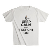 Mens Keep Calm and Firefight On - Great For Rescue Fire Fighters - Fireman Gift - Fire Men Ideas - Ladder 99 For Boyfriend 2191