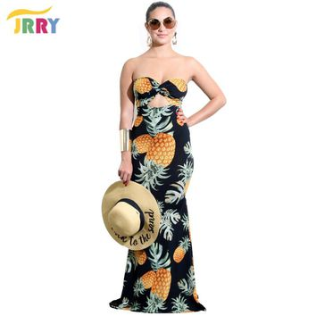 JRRY Sexy Strapless Print Women Maxi Dresses Off the Shoulder Long Party Club Dress Vestidos