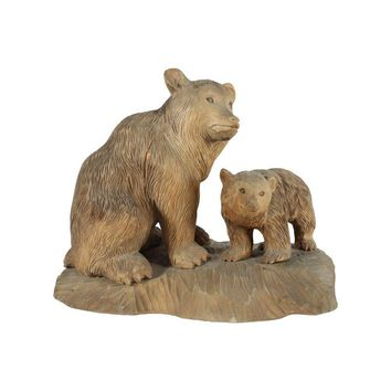 Pre-owned Swedish Carved Bear & Cub Wood Sculpture