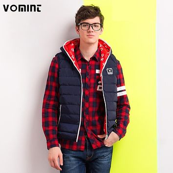VOMINT 2017 Mens Down Jackets Vest Coat Deep Blue Red Inside Printing Stars Zipper Hat Slim Regular Campus H6RI9033