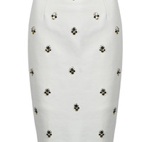 White Beads Embellished Split Back Pencil Skirt