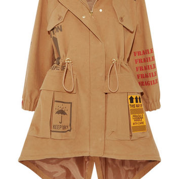 Moschino - Appliquéd printed brushed-cotton hooded parka