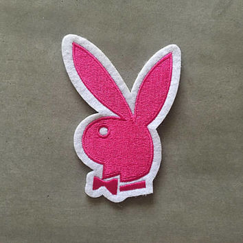 "Playboy Bunny pink logo --- iron-on embroidered patch (aprox. 3.75"" x 2.5"")"