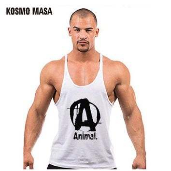 Summer Animal Print Tank Top Men Bodybuilding Fitness Muscle Cotton Singlets Muscle Tops Vest Undershirt