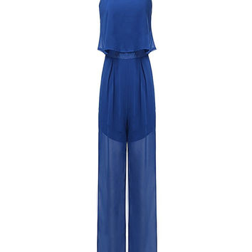 Women Sling Sleeveless Chiffon Solid Jumpsuit