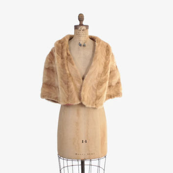 Vintage 50s MINK Fur STOLE / 1950s Palomino Honey Blonde Genuine Fur Winter Bridal Wedding Wrap