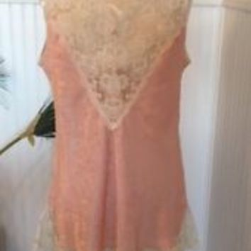 Vintage Val Mode Ivory Lace Pink Shiny Polyester Chemise Baby Doll Nightgown L