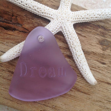 Dream sea glass pendant,drilled seaglass,beach glass bead,glass bead,purple sea glass,bottle glass,frosted glass,sand sea glass,drop pendant