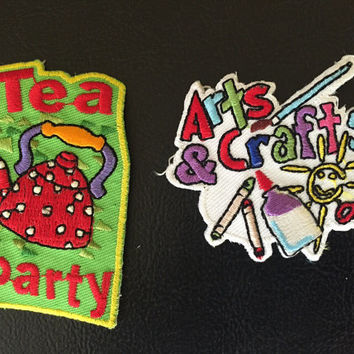 Scout Patches Set of 4 Vintage Recycling Patch Book Club Badge Tea Party Arts & Crafts Patch Girl Scouts Achievement Badge Fun 80s Patches